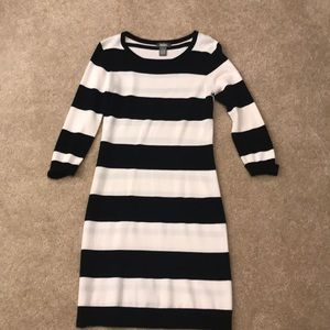 Neiman Marcus black and white sweater dress